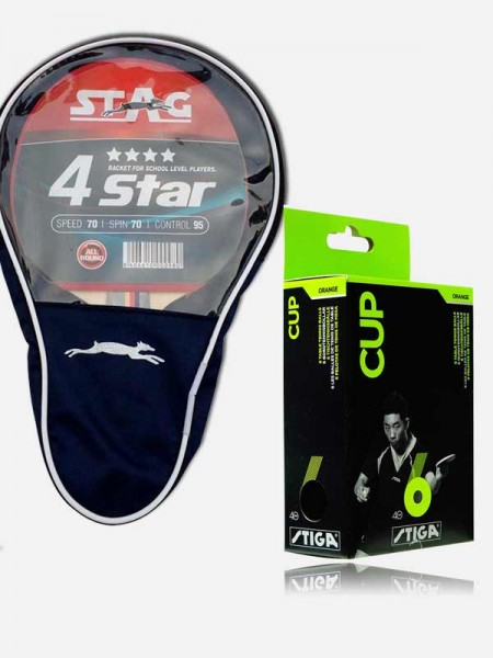 Stag 4 Star Table Tennis Racquet, (pack of 6 ball)